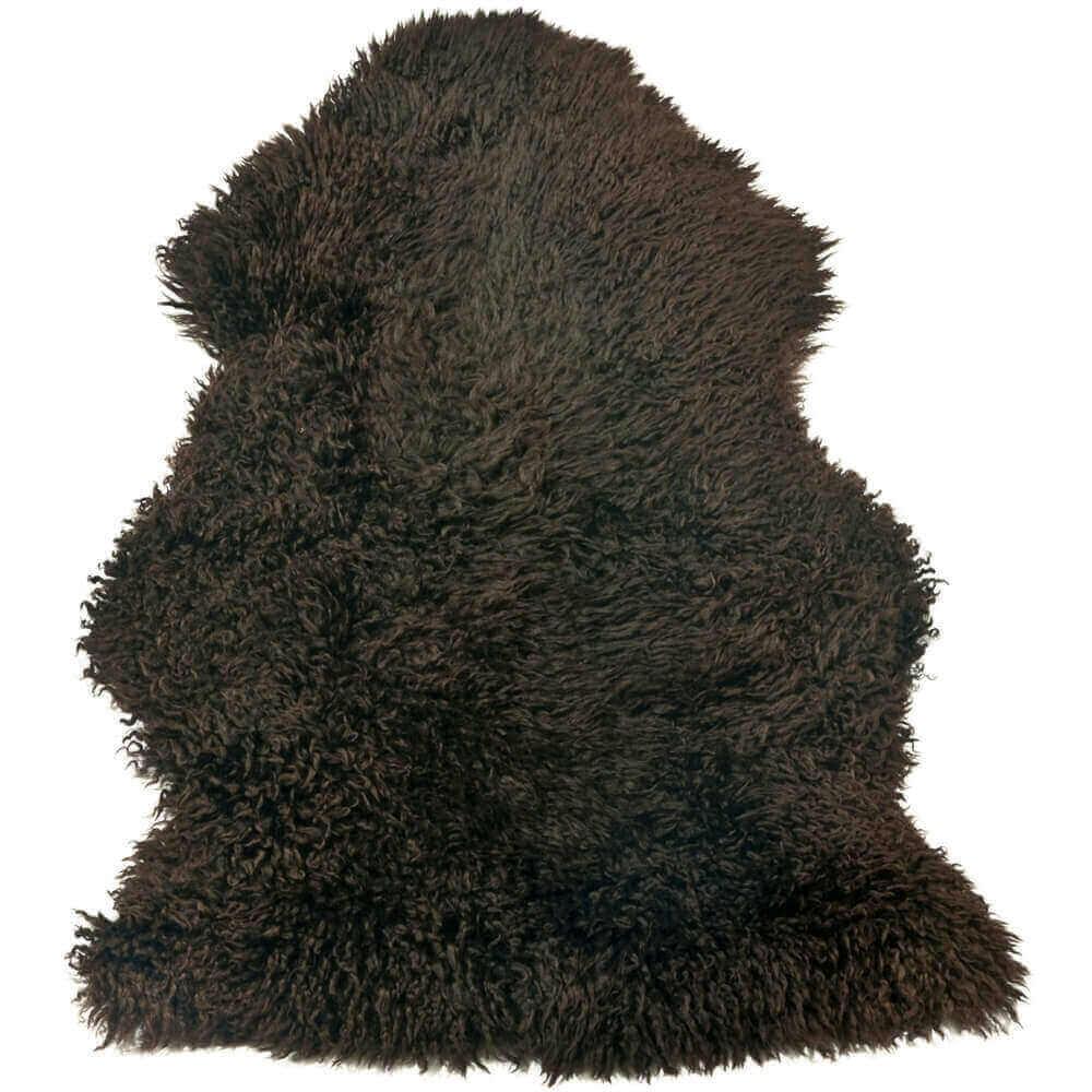 Single Curly  Wool Chocolate Brown Sheepskin Rug