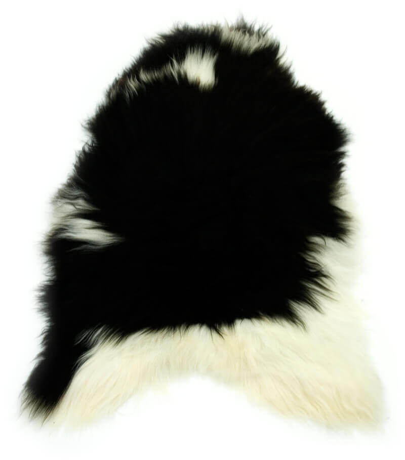 Single Natural Icelandic Sheepskin Rug Spotted Black And White