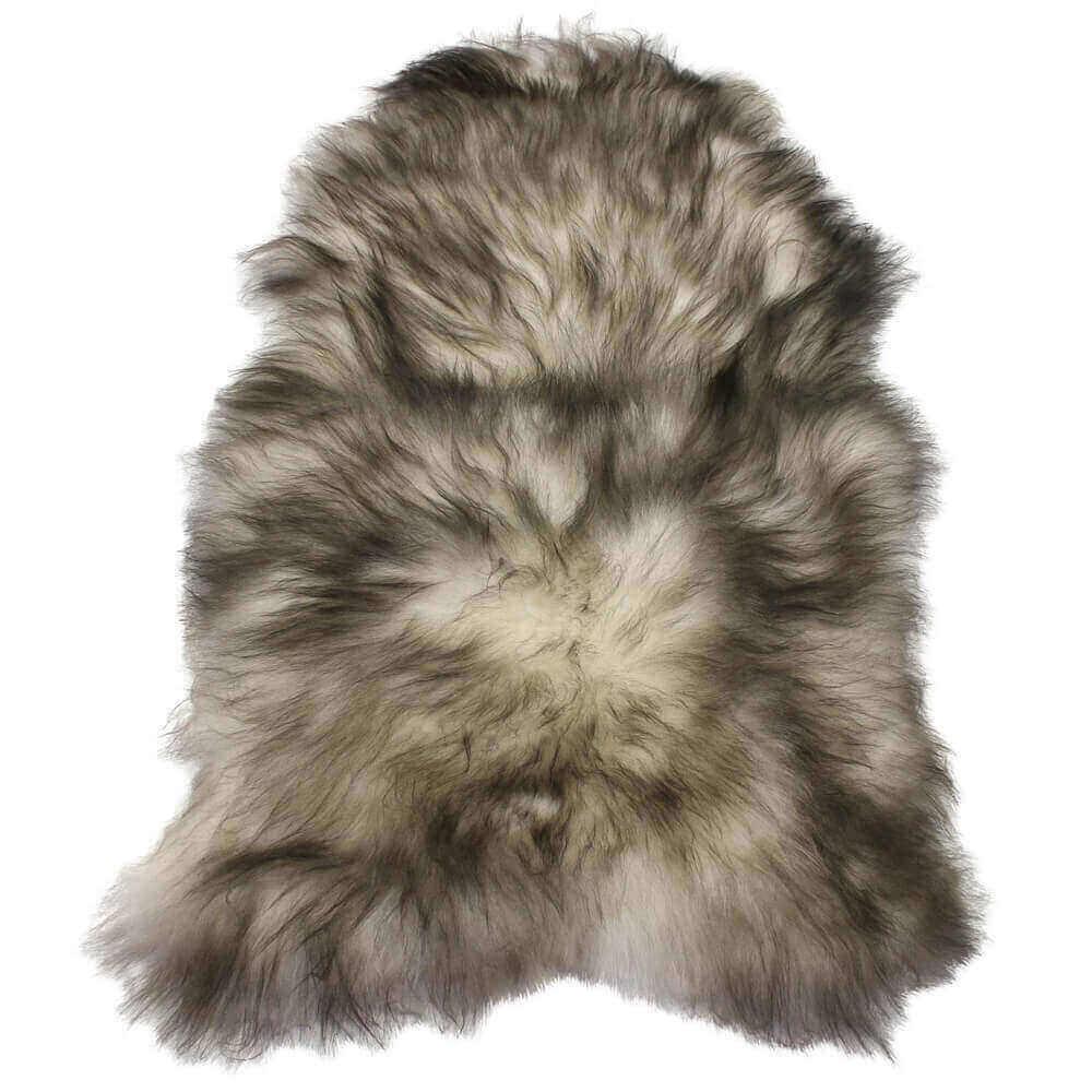 Single Natural Icelandic Sheepskin Rug White And Grey