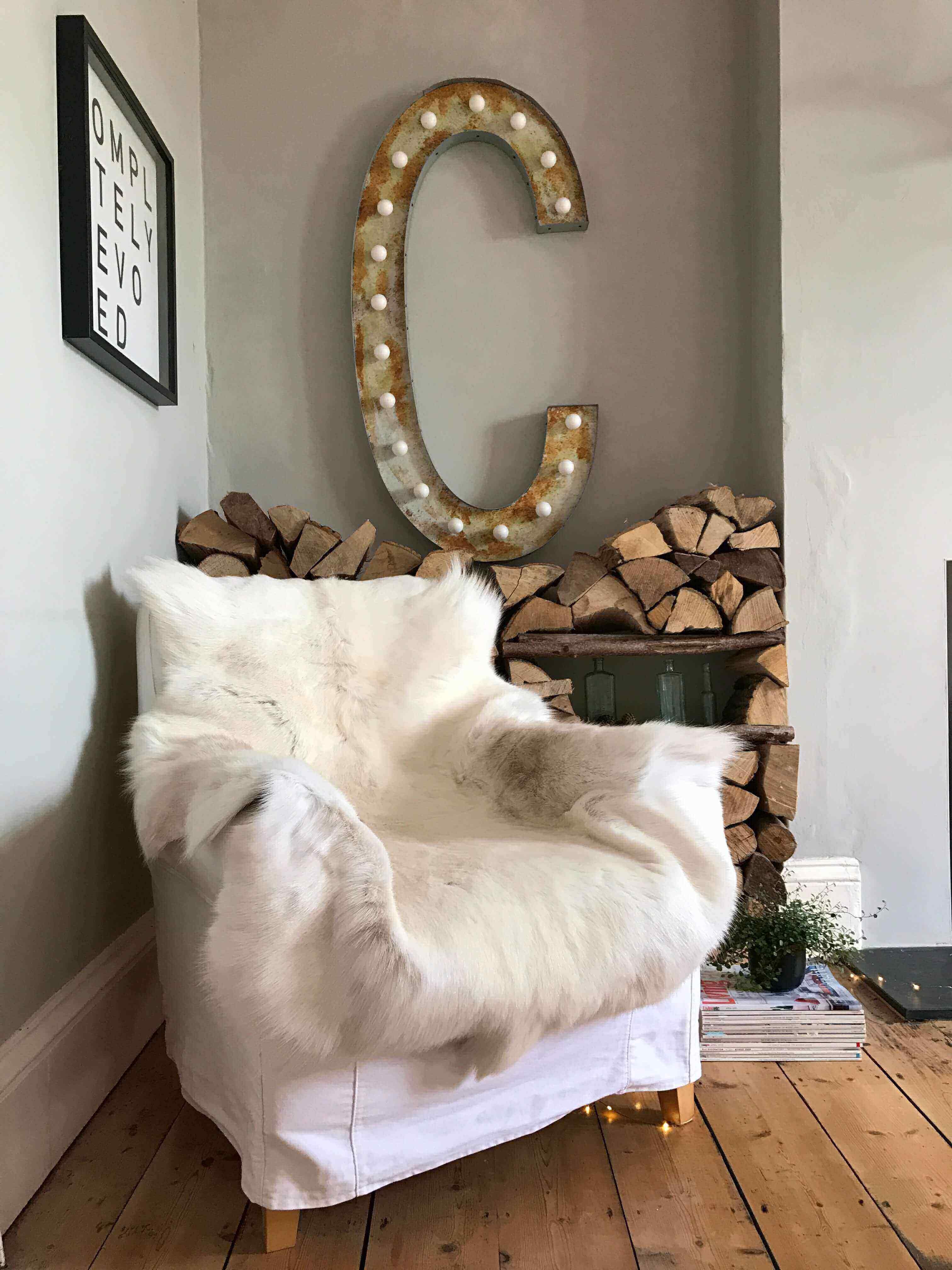 Medium Rare Breed White Nordic Reindeer Hide Rug