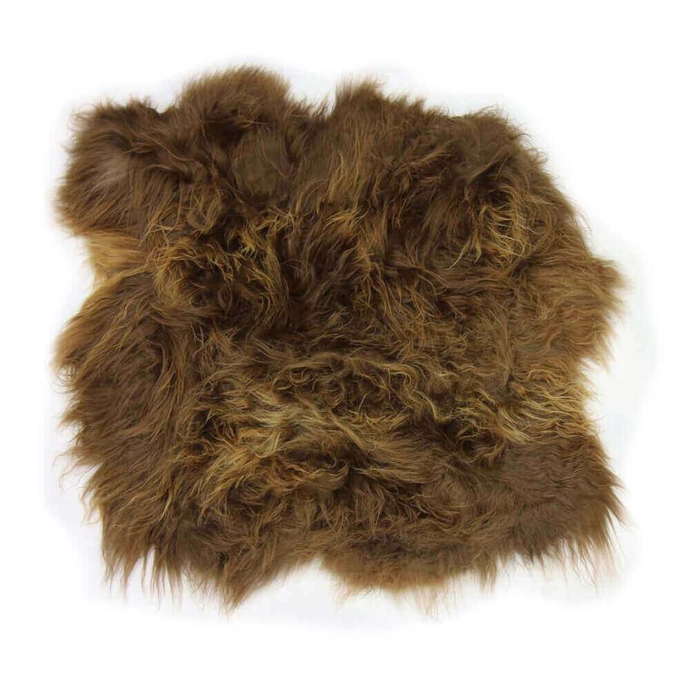 Large Double Icelandic Sheepskin Rug Rusty Brown