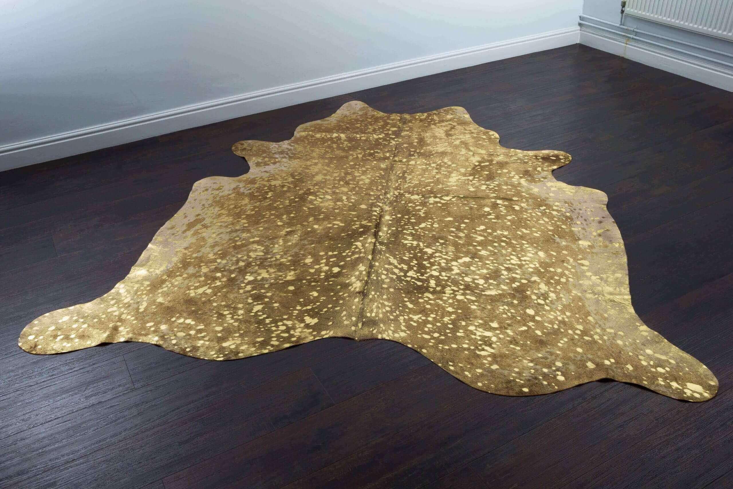 Gold Metallic Brazilian Cowhide Rug 1.75m x 1.90m