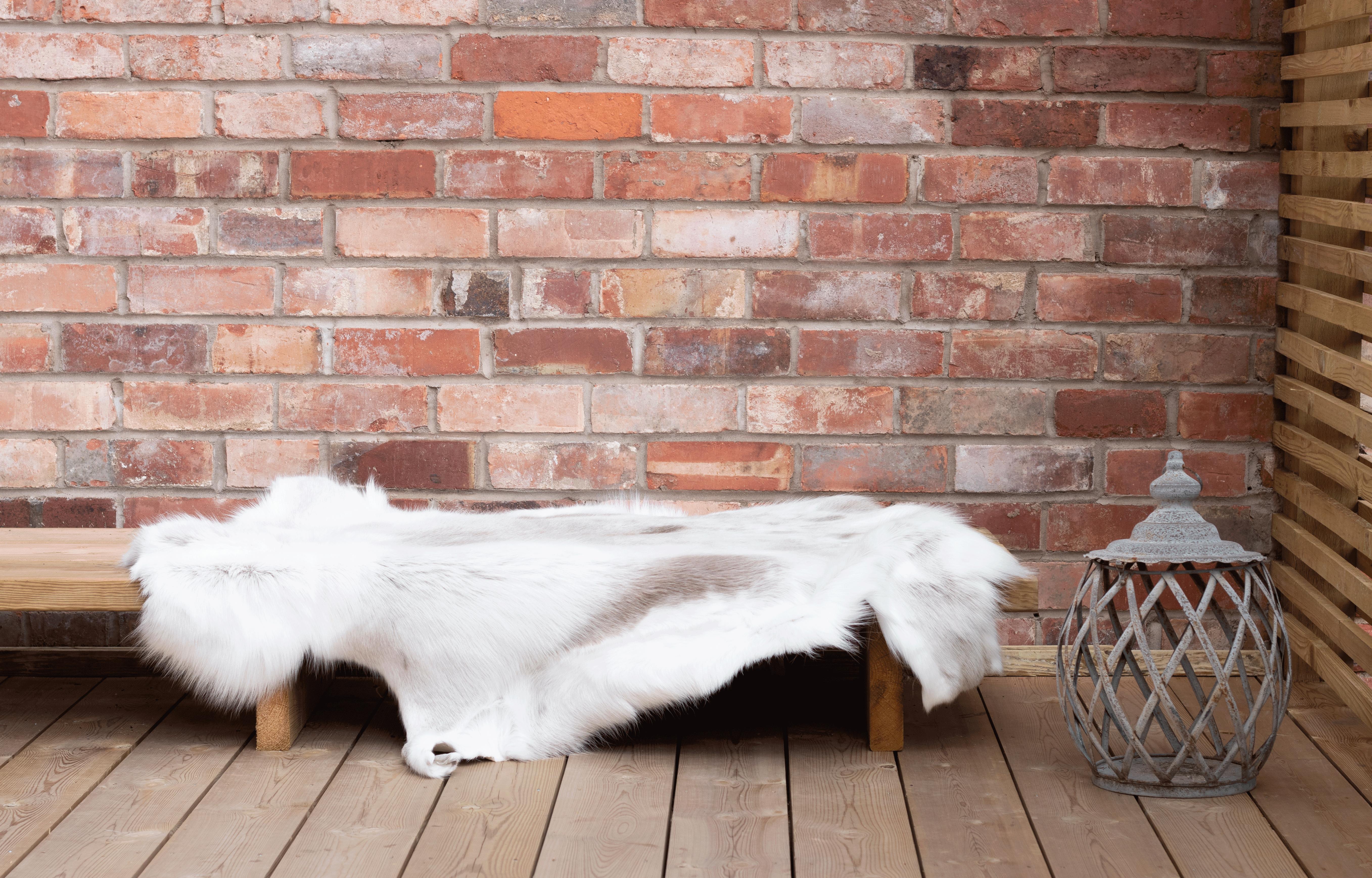 Rare Breed White Nordic Reindeer Hide Rug