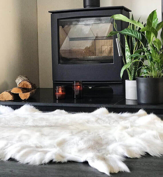 Large Rare Breed White Nordic Reindeer Hide Rug