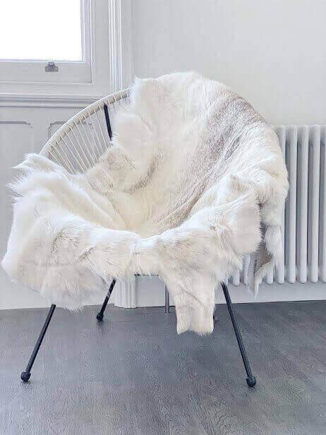 Pure White Rare Breed Nordic Reindeer HIde Rug