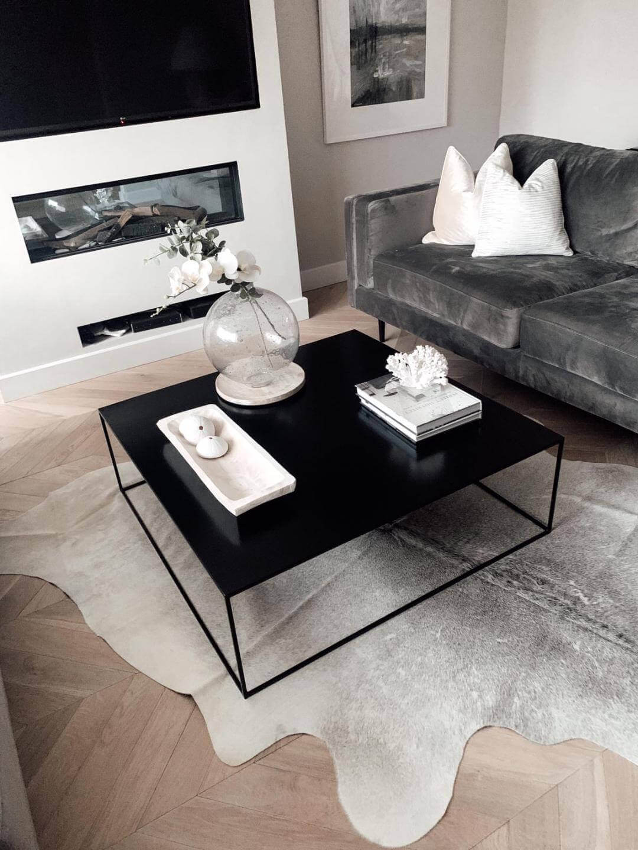 Nordic Pale Grey Off White Cowhide Rug KJG-home